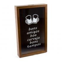Quadro Porta Tampa De Cerveja De Madeira Bons Amigos Boa Cerveja  - F9-11951 - Woodart