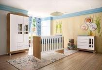 Quarto de bebê Ariel 3 portas amadeirado com berço-cômoda-guarda-roupas Carolina Baby -