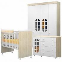 Quarto de Bebê Completo Carrossel/Cirandinha 4 Portas Branco Madeira - Bambinello -