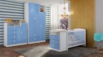 Quarto de Bebê Completo com Berço Cômoda Encanto, Roupeiro e Cômoda - Meu Fofinho - Azul - Art In Móveis