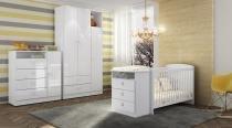 Quarto de Bebê Completo com Berço Cômoda Encanto, Roupeiro  e Cômoda - Meu Fofinho - Branco - Art In Móveis
