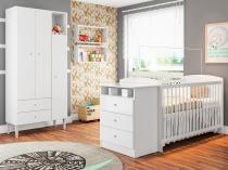 Quarto de Bebê Completo com Berço Guarda-Roupa - e Nicho Art In Móveis Meu Fofinho Encanto