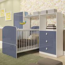Quarto de Bebê Completo com Guarda Roupa 2 Portas, Berço e Cômoda 3 Gavetas Completa Móveis Azul -