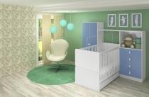 Quarto de Bebê Completo Compacto - Meu Fofinho - Azul - Art In Móveis