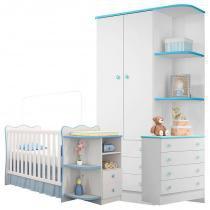 Quarto de Bebê Doce Sonho com Cantoneira Branca/Azul - Qmovi -