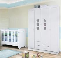Quarto de Bebê Lívia com Guarda Roupa 04 Portas  + Berço Mini Cama - Phoenix Baby -