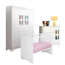 Quarto de Bebê New Cristal 4 Portas com Berço Alegria Branco Brilho  Canaã - Canaa baby