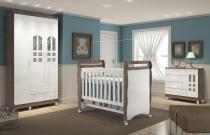 Quarto de bebê Selena 3 portas amadeirado com berço-cômoda-guarda-roupas 3 portas - Carolina Baby