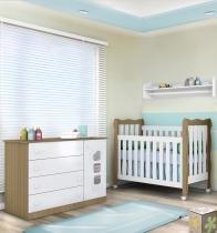 Quarto Infantil com Cômoda Ana Clara + Berço Mini Cama Lila - Phoenix Baby - Branco/Amadeirado - Phoenix Baby