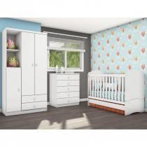 Quarto Infantil com Guarda Roupa 3 Portas, Cômoda e Berço Faz de Conta Siena Móveis Flex Color Branco/Branco/Rosa - Siena Móveis