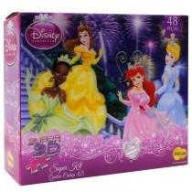 Quebra-Cabeça 3D - Princesas Disney - 48 Peças - Yellow - Yellow