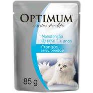 Ração Optimum Sachê Manutenção de Peso Frango para Gatos Adultos -