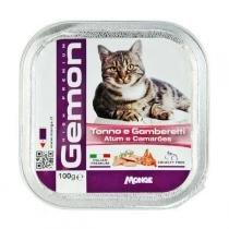 Ração Úmida Gemon Patê de Atum com Camarões para Gatos -