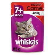 Ração Whiskas Sachê Jelly 7+ Sabor Carne para Gatos Adultos - Whiskas