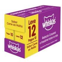 Ração Whiskas Sachê Sabor Carne ao Molho para Gatos Adultos - Whiskas