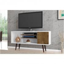 Rack 01 Porta para TV até 60 Polegadas 135 cm Safira Branco com Madeira Rústica - Bechara -