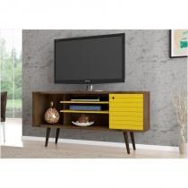 Rack 01 Porta para TV até 60 Polegadas 135 cm Safira Madeira Rústica com Amarelo - Bechara -