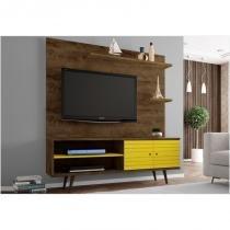 Rack 02 Portas com Painel para TV 55 Polegadas 160 cm Onix Madeira Rústica com Amarelo - Bechara -