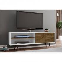 Rack 02 Portas para TV até 60 Polegadas 160 cm Onix Branco com Madeira Rústica - Bechara -
