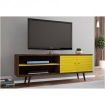 Rack 02 Portas para TV até 60 Polegadas 160 cm Onix Madeira Rústica com Amarelo - Bechara -
