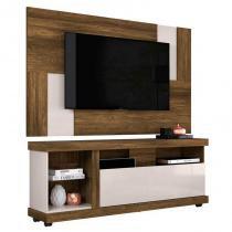 Rack Bancada Ilha Bela e Painel Para TV Delfos Canela/Off White - HB Móveis - Colibri