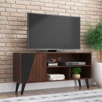 Rack Bancada para TV até 50 Pol. BR381 1 Porta Castanho/Preto - BRV -