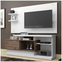 Rack Com Painel Camaçari Branco e Chocolate 156 cm - Chf móveis