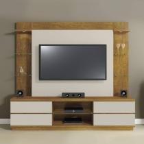 Rack com Painel para TV até 55 Polegadas Galaxy Mavaular Mel/Off White -