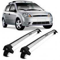Rack de Teto Travessa L World Fiesta Hatch 1996 a 2012 Prata Suporta 45KG 4 Portas - Cristal car