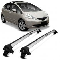 Rack de Teto Travessa L World Honda Fit 2008 a 2012 Prata Suporta 45KG 4 Portas - Cristal car