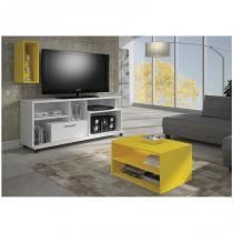 Rack Multifuncional Versátile com 155 cm Branco - HB Móveis - Branco / Amarelo - HB Móveis