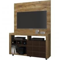 Rack painel para tv até 42 polegadas dj móveis américa - Dorale Brilho com Conhaque Brilho -