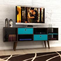 """Rack para TV Até 60"""" Zeus Madero/Azul Turquesa - Manto móveis"""