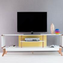 Rack Para Tv Prestage Até 65 Polegadas 1,8 m com 2 Nichos Branco e Amarelo - Marrom - WoodInn