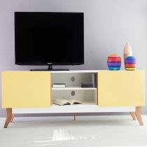 Rack Para Tv Vintage Até 65 Polegadas 1,8 m Branco com 2 Portas Amarelas - Marrom - WoodInn