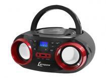 Rádio Boombox com CD Preto/Vermelho BD-129 Lenoxx -