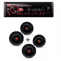 Radio Mp3 Player Pioneer Mvh-298bt Bluetooth Usb Aux e Kit 4 Alto Falante Bomber Triaxial 6 Pol -