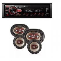 Radio Mp3 Player Pioneer Mvh-298bt Bluetooth Usb e Kit Auto Falante Bravox Facil 6   Triaxial Quadriaxial 6x9 - Pioneer / bravox