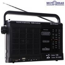 Rádio Portátil 3 faixas com entrada USB e Memory Card RM-PU32AC  Motobras - Motobras