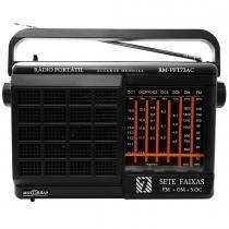 Rádio Portátil 7 Faixas AM/FM/OC Preto RM PFT 73AC - MotoBras - Motobras