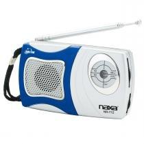 Rádio portátil AM/FM com alto-falante integrado Naxa NR712 - Azul e Prata - Opeco