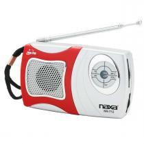 Rádio portátil AM/FM com alto-falante integrado Naxa NR712 - Vermelho e Prata - Opeco