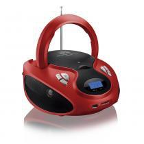 Rádio Portátil Boombox CD Player 20W Bivolt Vermelho SP180 - Multilaser - Multilaser