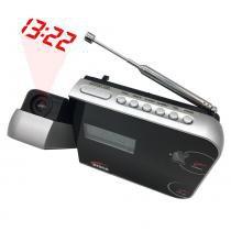 Rádio Relógio Despertador Digital AM/FM c/ Projetor de Horas Preto CR-308 - Zgp