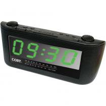 Rádio-Relógio Digital AM/FM c/ Despertador, Função Soneca e Entrada Aux. CRA108BR COBY - Coby