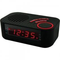 Rádio- relógio digital AM/FM com 2 alarmes e entrada auxiliar preta - CBCR100 - Coby - Coby