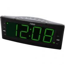 Rádio-relógio digital FM com 2 alarmes e saída USB para carga de dispositivos eletrônicos NRC-166 Naxa -