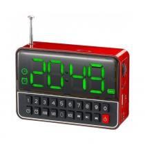 Rádio Relógio FM c/ Entr USB/Alarme/Mp3 e Auxiliar Vermelho - Importado