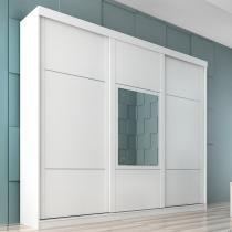 Ravena Slide Glass 3 portas - Branco/Rovere/Branco - Branco/Rovere/Branco - Panan