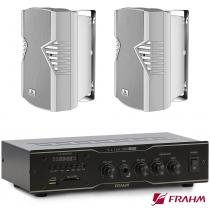 Receiver Para Som Ambiente Frahm  Slim 1000 Usb Fm + Par PS 6 PLUS BRANCO -